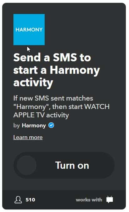 logitech harmony and ifttt sms